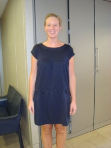 Charlotte rocking her Anyhow Tier Dress in Navy